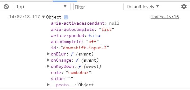 Downshift input props